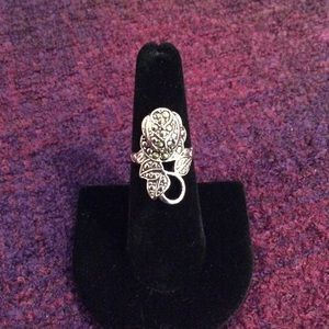 Antique styled marcasite rose ring